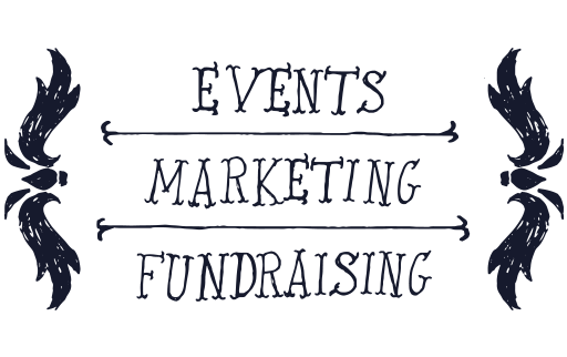 """Illustrated words reading """"Events, Marketing, Fundraising"""""""