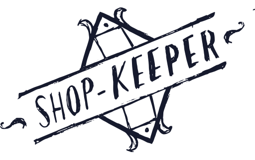 """Illustrated words reading """"Shop keeper"""""""