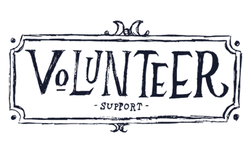"""Illustrated words reading """"Volunteer Support"""""""
