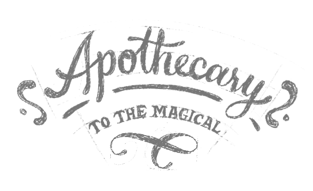 """Illustrative words reading """"Apothecary to the magical"""""""