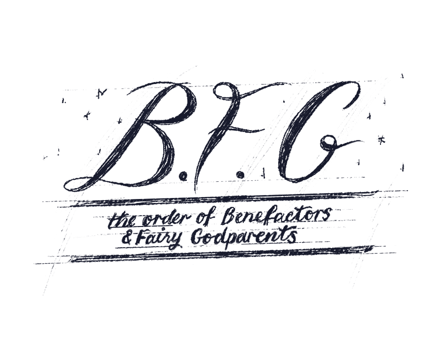 """Illustrative words reading """"B.F.G - The order of benefactors and Fairy Godparents"""""""