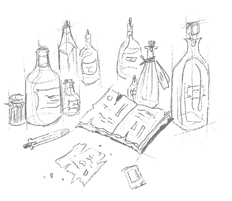 Illustration of apothecary bottles, an open book and a pen