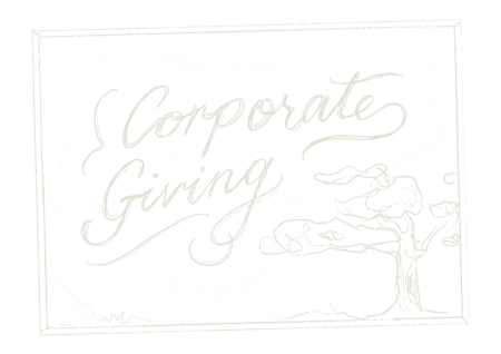 """Illustrative words reading """"Corporate giving"""""""