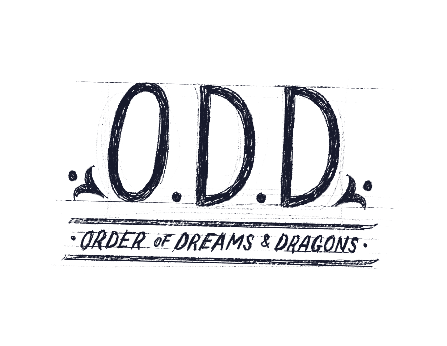 """Illustrative words reading """"ODD - Order of Dreams and Dragons"""""""