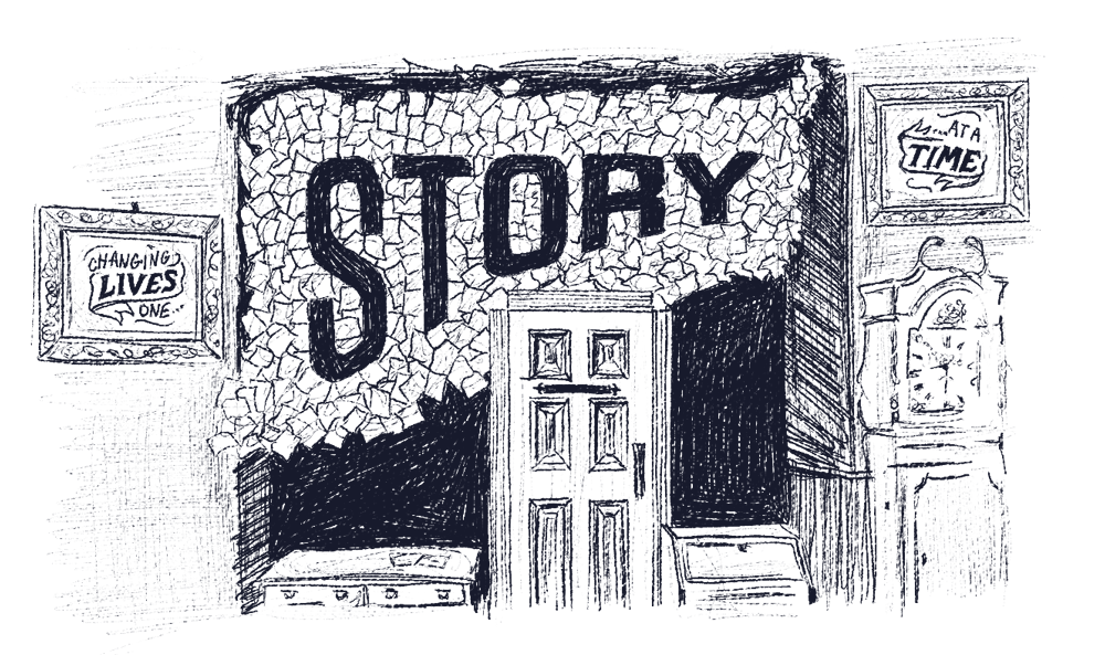 """Illustration of a wall within Grimm & Co, with a door set into a wall with the word """"Story"""" on."""