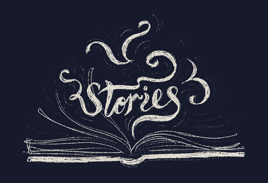 Illustration of an open book with the word Stories coming out