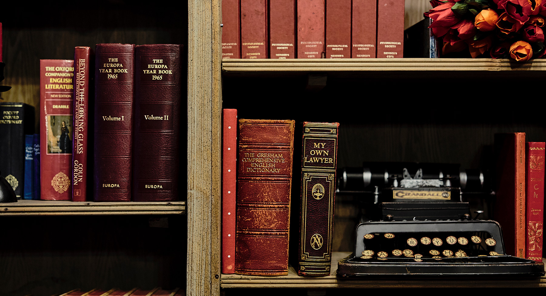Bookshelves with typewriter
