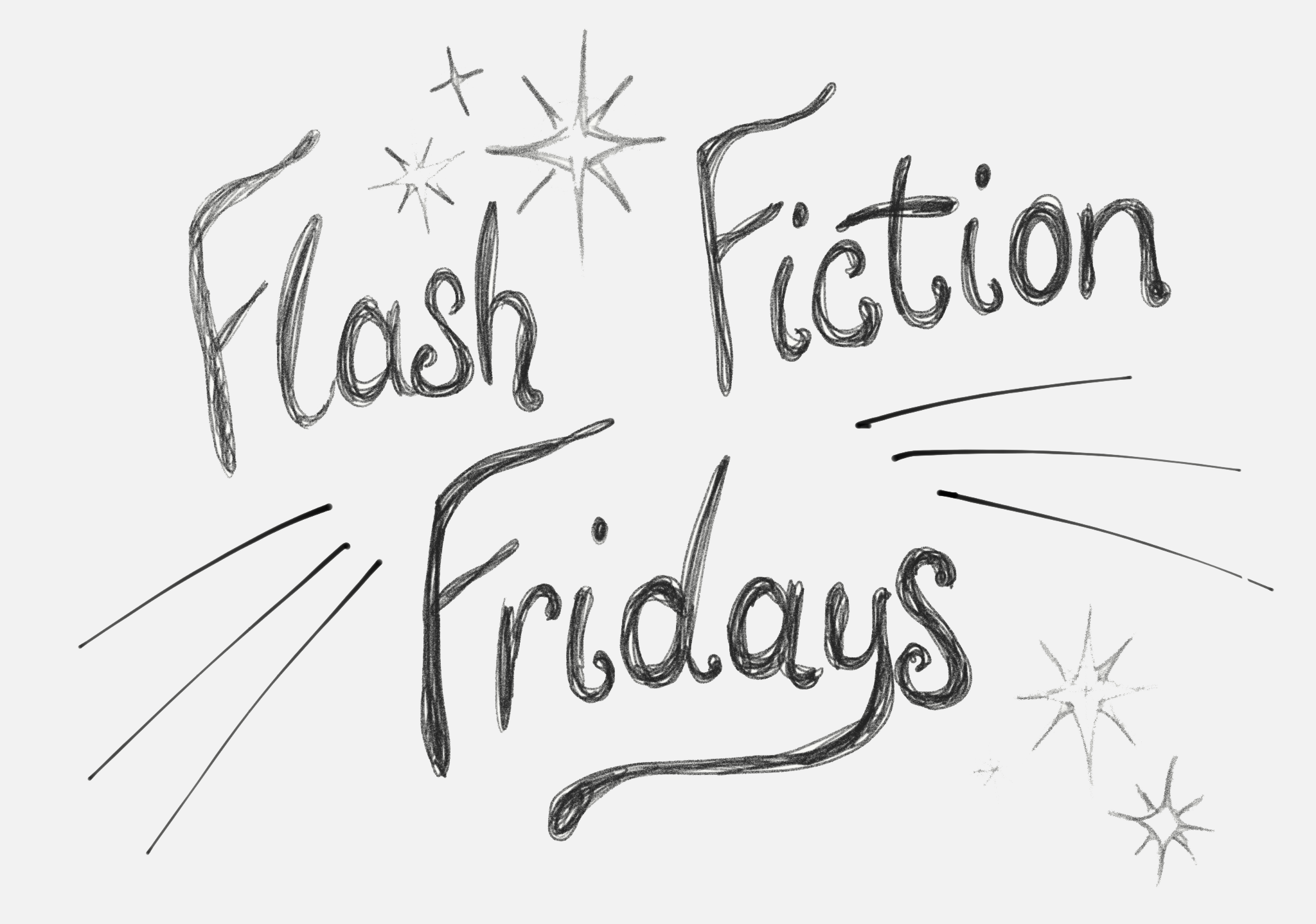 "Decorative image of the words ""Flash Fiction Fridays"" with stars"