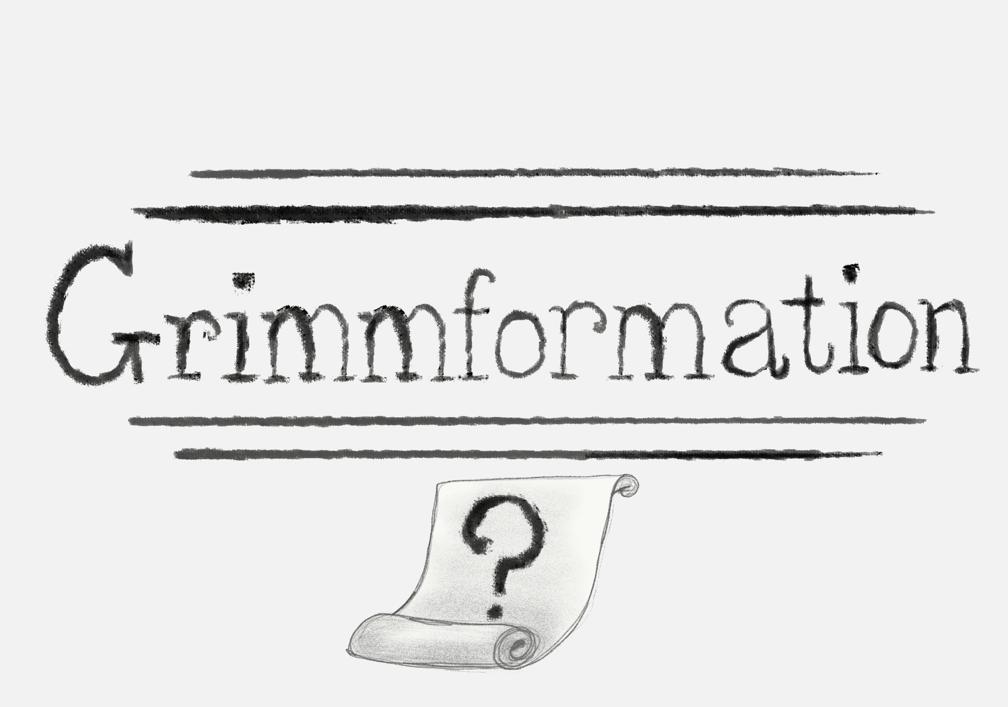 "Decorative image of the words ""Grimmformation"" with a question mark"