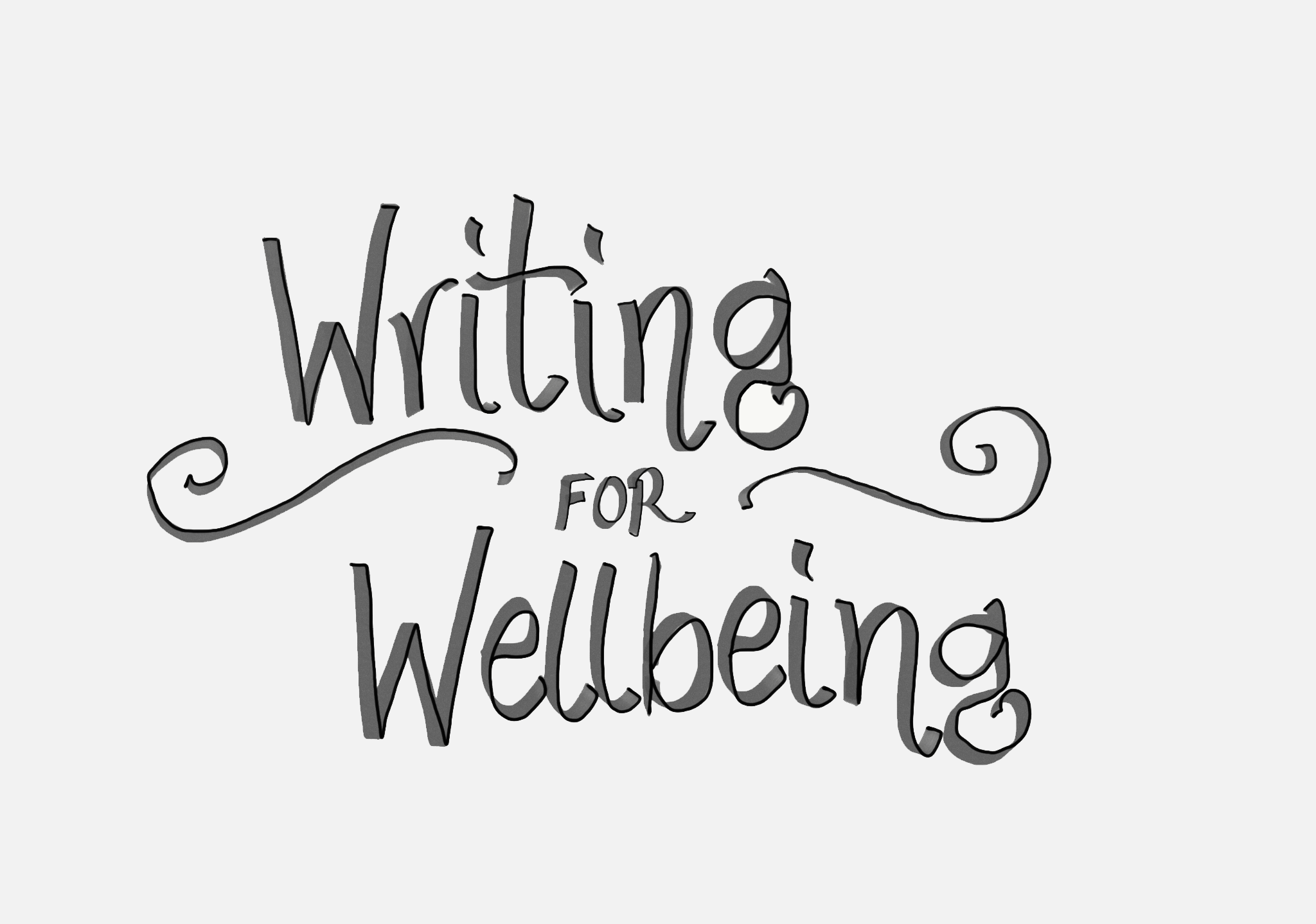 "Decorative image of the words ""writing for wellbeing"""