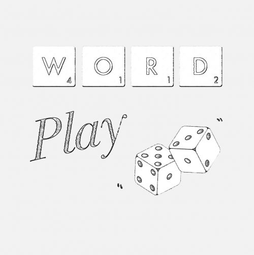 "Scrabble tiles spelling ""Word"", with two dice to show ""Play"""