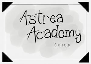 """""""Astrea Academy Sheffield"""", in a hand drawn frame."""