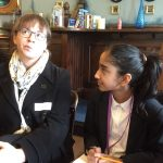 A young person asking a question in the Writer's Pad