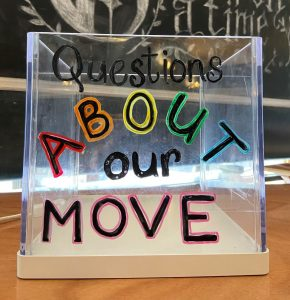 "Clear box with ""Questions about our move"" written on, in from of a Once upon a time background."