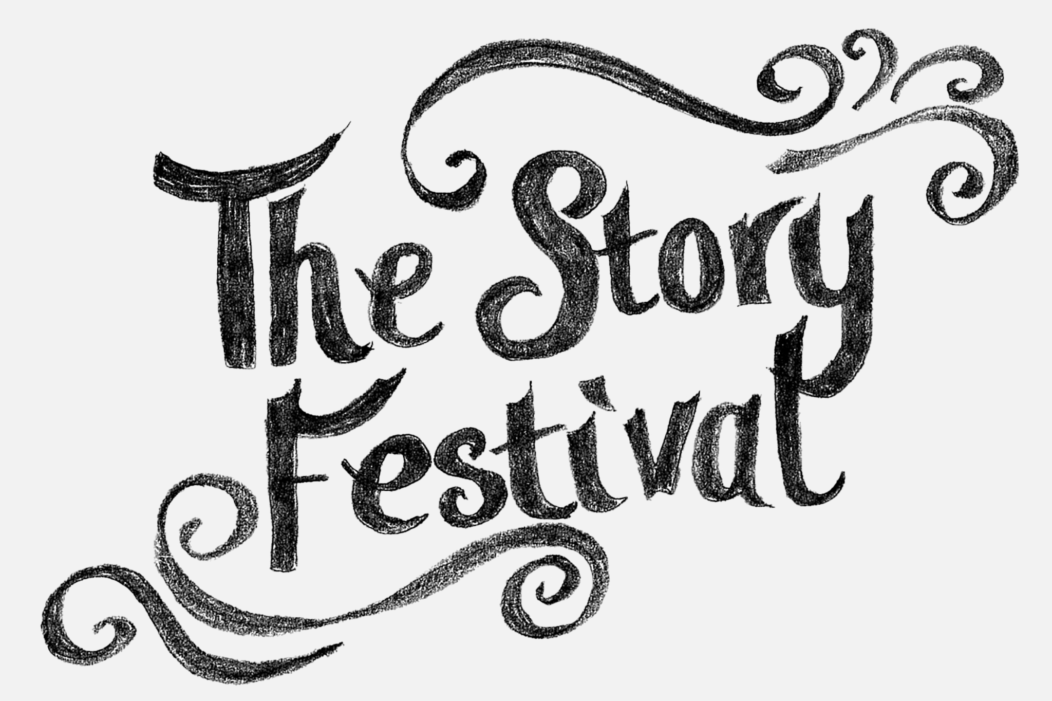 """Illustration with the words """"The Story Festival"""", with swirls around it."""