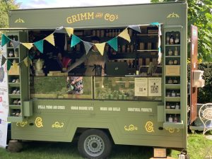Vintage style trailer containing the Grimm products.