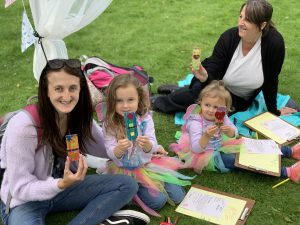 A family enjoying the creative writing activities at Wentworth Woodhouse