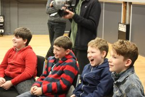 Children enjoying a visit to BBC Radio 4, Salford Media City