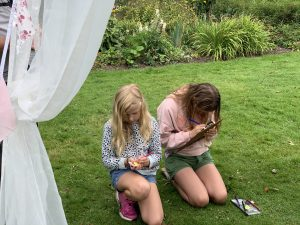 Young people enjoying a creative writing activity