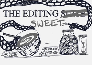 "The words ""The Editing Suite"", with the word Suite crossed out, and Sweet handwritten on. Surrounded by illustration of aoctupus-like arm mixing a cake in a bowl."