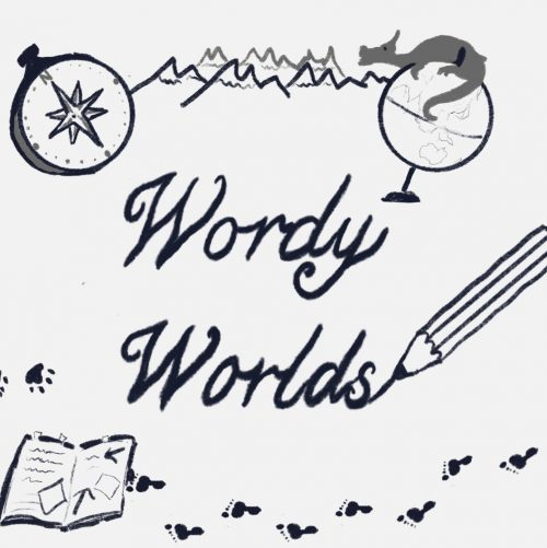 """Illustration with the words """"Wordy Worlds"""", surrounded by images of a pencil, notebook, compass and a globe with a dragon on top."""