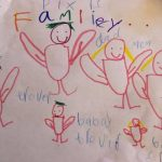 A child's drawing of a pixie family.