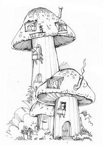 Illustration of a Toadstool house, by volunteer Chris Bilton