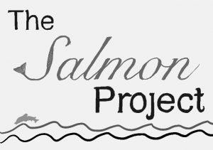 Illustration of water, with a jumping fish, with the words The Salmon Project above.