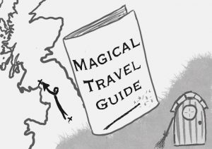 An illustration of a book with Magical travel guide written o, next to a fairy door and an outline of the British Isles.