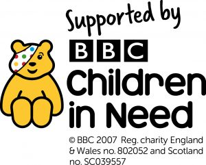 """Yellow Pudsey bear logo with spotty bandage over eye, with the words """"Supported by BBC Children in Need"""""""